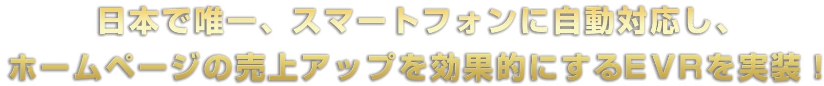 日本で唯一、スマートフォンに自動対応し、ホームページの売上げアップを効果的にするeVRを実現